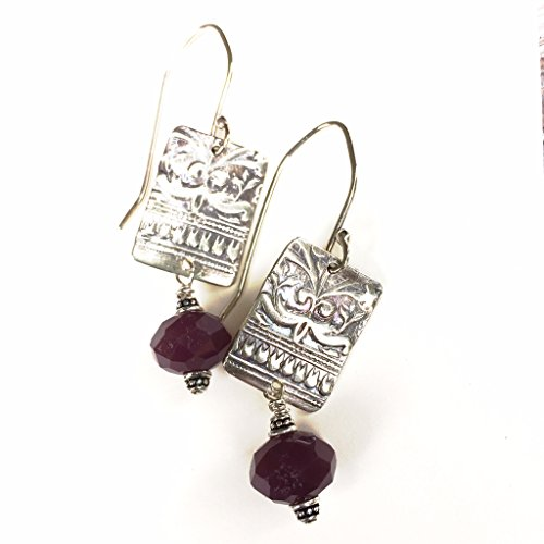 Goddess Rectangle Drop Earrings with Lavendar Amethyst Glass in Argentium Silver by BANDANA ()