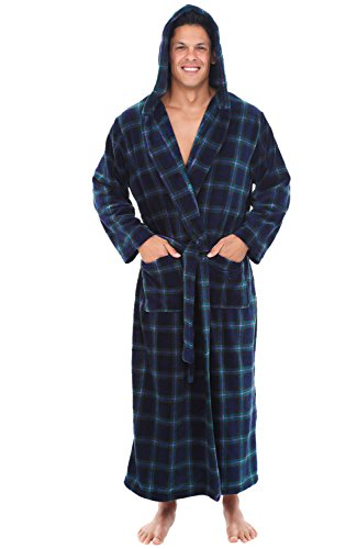 Alexander Del Rossa Men's Robe with Hood - Premium Fleece Bathrobe, Big and Tall, Large XL Blue and Green Plaid (A0125P23XL) (Super Long Robe Soft)