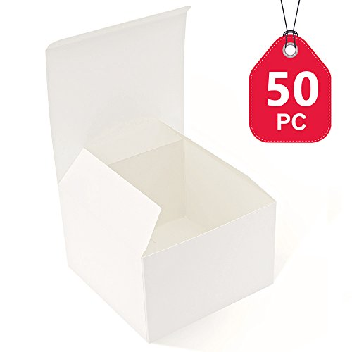 MESHA Recycled Gift Boxes 6x6x4 Inch White Gloss Cardboard Boxes 50PCS Kraft Favor Boxes for Party, Wedding, Gift Ornaments Flat Paper