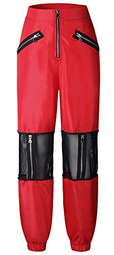 LifeShe Women's Hip Hop Mesh Patchwork Jogger Pants (Red, XS) by LifeShe