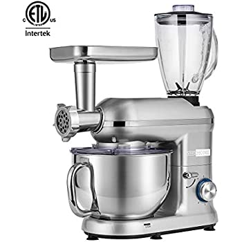 VIVOHOME 3 in 1 Electric 650W Multi-functional 6-Speed Tilt-Head Kitchen Stand Mixer Meat Grinder Juice Blender with 6 Quart Stainless Steel Bowl Silver ETL Listed