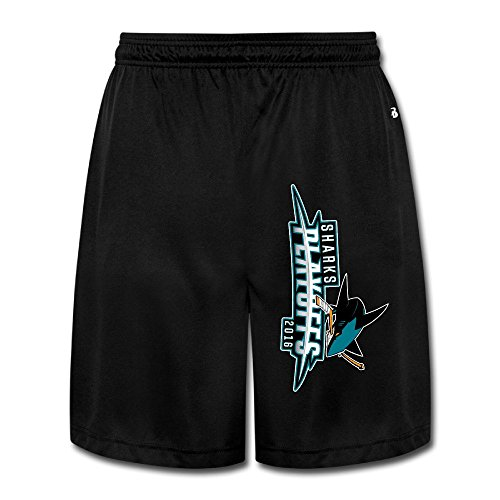 YQUE56 Men's San Jose Ice Hohey Team Logo Shorts Running Pants Color Black Size XL