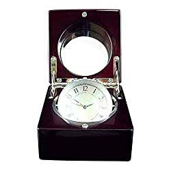 Desk Clock - Wooden Box, Mirror, Revolving Glass Sphere with Photo Frame.