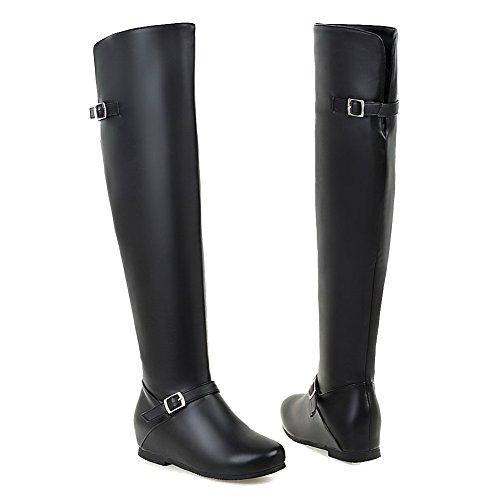 Boots Low PU Solid on Round Women's Pull Heels Allhqfashion Black Toe Closed naxwfEZvtq