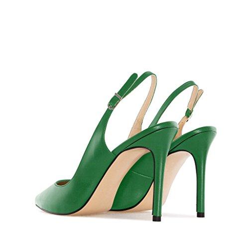 Soireelady Ouvertes Femmes 10cm Cheville l'arrière Vert Lanière à Aiguille Chaussures Escarpins rwrqTPXd