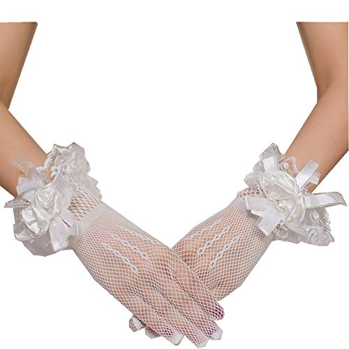 (Women's Wrist Length Bridal Gloves With Floral Bow Lace Stretch Net Yarn For Wedding Dress Finger Gloves (Ivory))