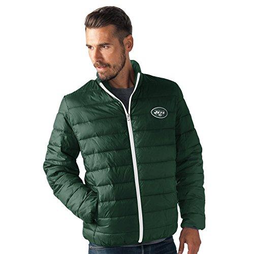 NFL New York Jets Men's Skybox Full Zip Packable Jacket, Green, Large
