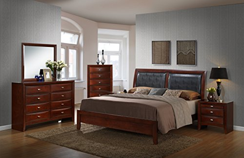 Dresser Mirror Finish Merlot (Roundhill Furniture Emily 111 Contemporary Wood Bedroom Set, Queen Bed, Dresser, Mirror, 2 Night Stands, Chest, Mahogany, Merlot)