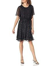 Calvin Klein Women's Flutter Sleeve Dress with Lurex Hem Detail