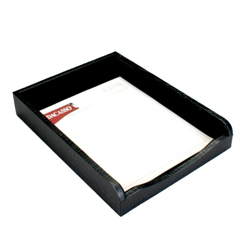 Dacasso Black Crocodile Embossed Leather Letter Tray by Dacasso