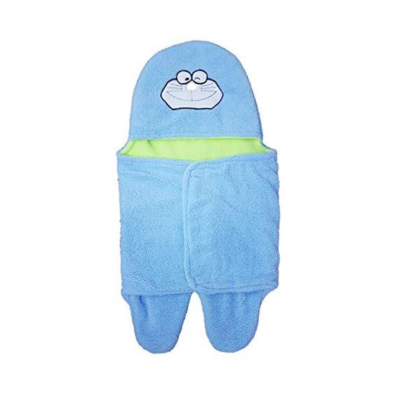 BRANDONN Newborn Baby Blanket Cum Envelope Jumpin Wrapper Sleeping Bag with Hood Cap Polka Print (Blue)