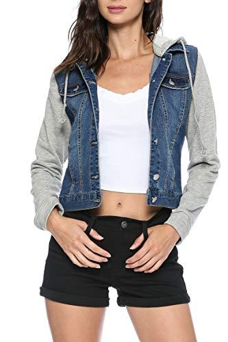 Stretch Cotton Fitted Jacket - Urban Look Women's Casual Stretch Denim Jean Jacket (Small, C Dark Wash)