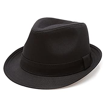 - 417OLMNUvvL - MIRMARU Classic Trilby Short Brim 100% Cotton Twill Fedora Hat with Band