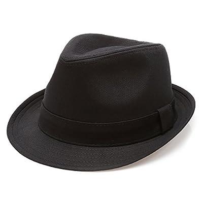 - 417OLMNUvvL - MIRMARU Classic Trilby Short Brim 100% Cotton Twill Fedora Hat with Band