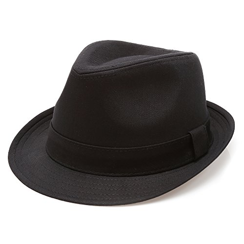 Classic Trilby Short Brim 100% Cotton Twill Fedora Hat with Band(Black,LXL) -