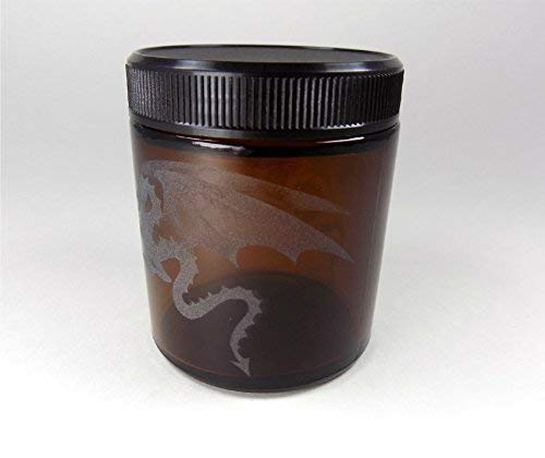 Sand Carved Glass Handmade Custom Canister Screw-Top Lid IncisoArt Hand Etched Decorative Jar Permanently Sandblasted 4 Ounce, Amber Mystical Dragon