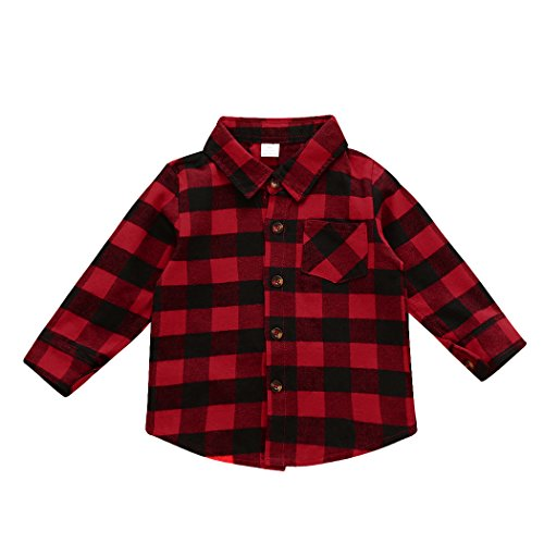 MIOIM Baby Boys Girls Long Sleeves Button Down Plaid Shirt Red Black Plaid Tops Blouse (1T-6T) (1-2 Years, -