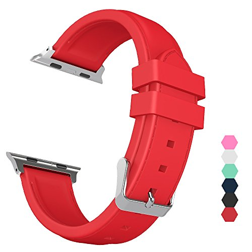 Sxciw Apple Watch Band, Silicone Stitching Replacement Sports Strap for iWatch (red, 38mm)