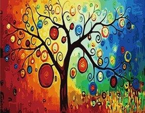 DoMyArt DIY Oil Painting, Paint By Number Kit - Abstract Tree 16X20 Inch
