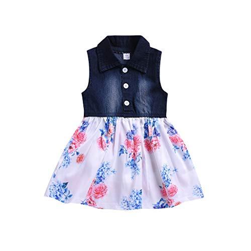 Kids Toddler Kids Baby Girls Dresses Sleeveless Denim Splice Skirt Button Casual Princess Clothes (18-24Months, ()