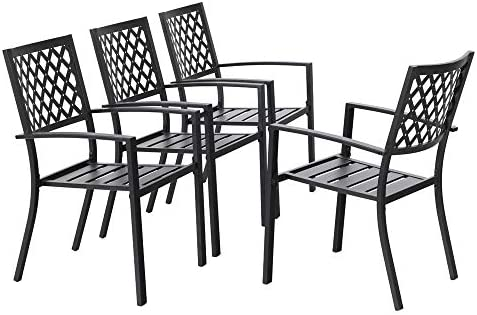 MFSTUDIO Black Metal Patio Stacking Chairs Wave Back Indoor Outdoor Dining Set Wrought Iron Chair with Arm, Set of 4