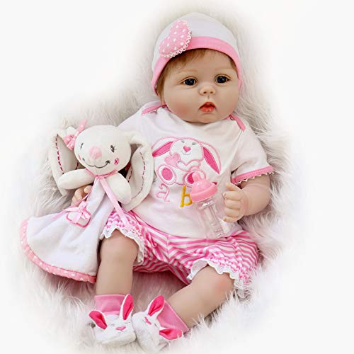 Aori Lifelike Realistic Reborn Baby Doll 22 Inch Real Looking Weighted Reborn Doll with Bunny Clothes and Accessories Best Birthday Gift for Girls Age 3+