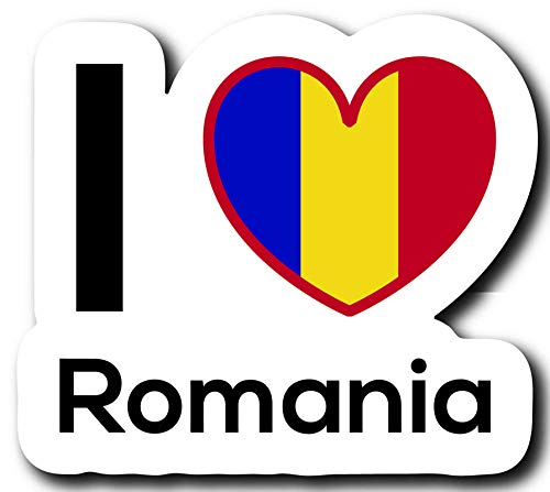 MKS0227 One 5 Inch Decal Love Romania Flag Decal Sticker Home Pride Travel Car Truck Van Bumper Window Laptop Cup Wall