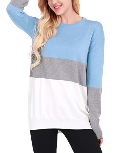 Uniboutique Womens Oversized Long Sleeve Knit Casual Pullover Sweater Blue S