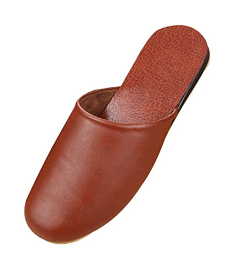Slippers Solid Cattior Leather Slippers Mens Brown Bedroom Light House wRxxCFUtq