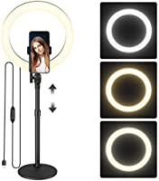 ロボロビン LEDリングライト USB給電式 高さ58-75cm/外径10インチ 『 高輝度LED120個 10段階光量 3色モード 』 卓上ライトスタンド 自撮りライト 撮影用ライト スマホホルダー付き 『 高さ・角度調節可能 リモコン操作...