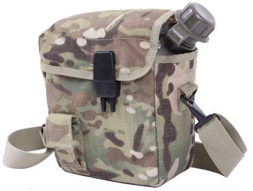 Multicam Camo Molle Compatible 2-quart Bladder Canteen Cover w/ Shoulder Strap