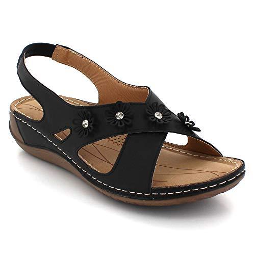 Mujer Zapatos Plano Señoras Tamaño Ligero Del Abierto Negro Comodidad Slingback Verano Dedo Pie Sandalia Casual 77gq8rdx