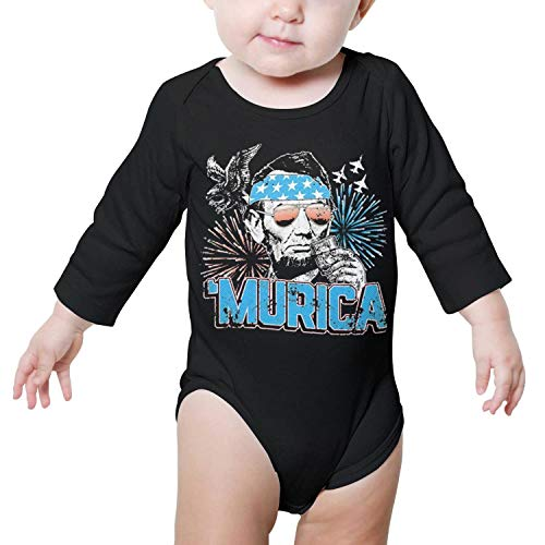 PoPBelle Murica Abe Lincoln Memorial Day Baby Onesie Black Romper Long Sleeve Jumpsuits Cotton Soft -