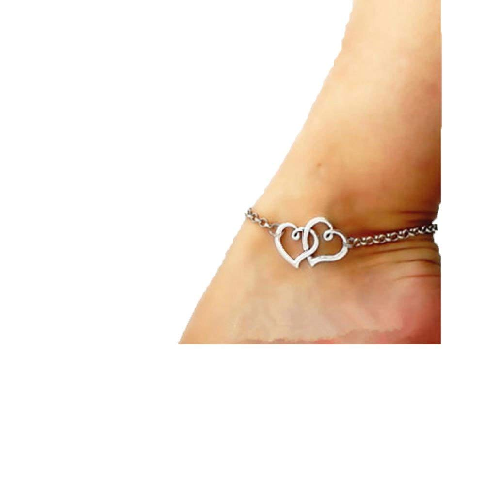 Sandistore Jewelry Double Heart Chain Beach Sexy Sandal Anklet Ankle Bracelet