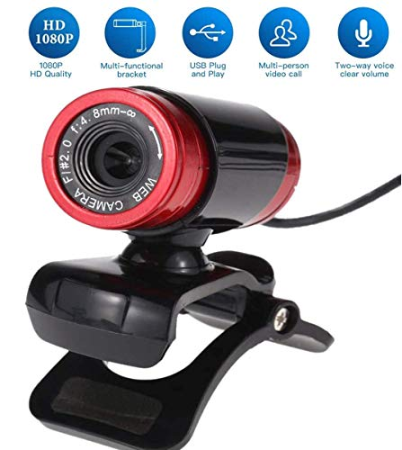 HAZUN Cámara Web Full HD de 1080p, USB2.0 con micrófono Cámara Plug and Play Ajustable en 360 ° para computadora de…