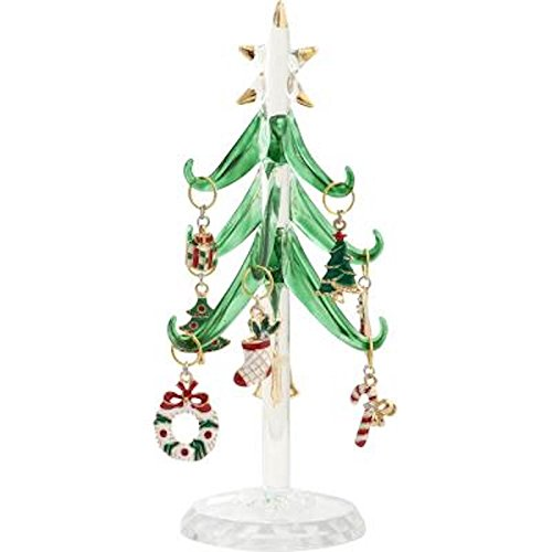 LSArts Glass Christmas Tree with 9 Enamel Wine Charm Ornaments, Green, 6Inch, Gift Box