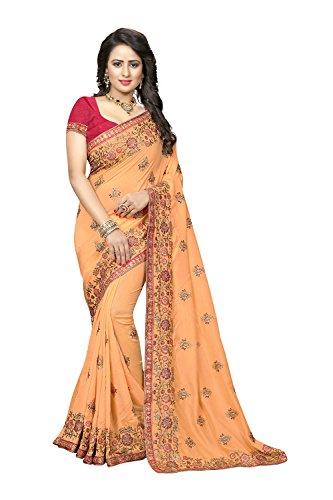 Party Orange 3 Da Facioun for Women Indian Traditional Wedding Wear Sarees Sari Designer wSAwqx6