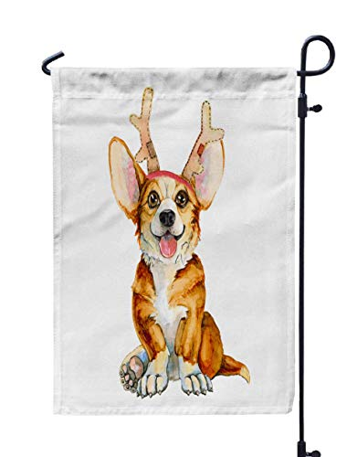 Shorping Welcome Garden Flag, 12x18Inch Dog Breed in Deer Horns Christmas Cute Puppy New Year Isolated White Background for Holiday and Seasonal Double-Sided Printing Yards Flags