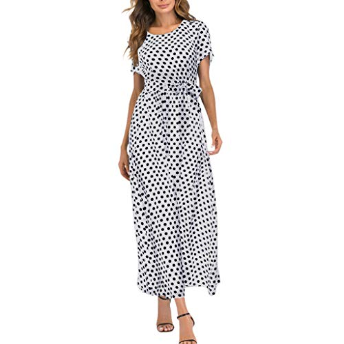 - Emimarol Women Dress Casual O-Neck Short Sleeve Dress Beach Polka Dot Bandage Long Maxi Dress White
