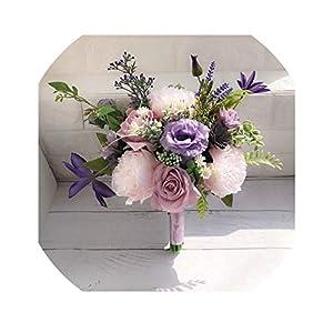 Lilac Lavender Purple Wedding Bouquet for Country Wedding Flowers Bridal Bouquet Artificial Blush Pink Roses Ramo De Flores,Picture Color 20
