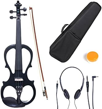 Yellow Maple Metallic Cecilio 4//4 CEVN-4Y Solid Wood Electric//Silent Violin with Ebony Fittings in Style 4 Full Size
