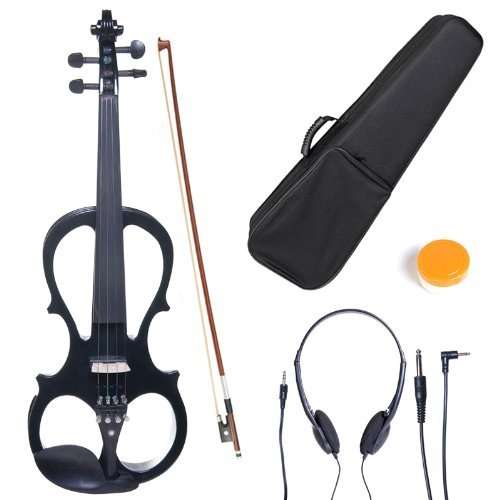 Cecilio 4/4 CEVN-1BK Solid Wood Electric/Silent Violin with Ebony Fittings in Style 1 - Full Size - Black Metallic by Cecilio