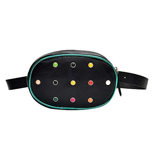 en Rhinestone Leather Messenger Shoulder Bag Chest Bag Waist Bag ()