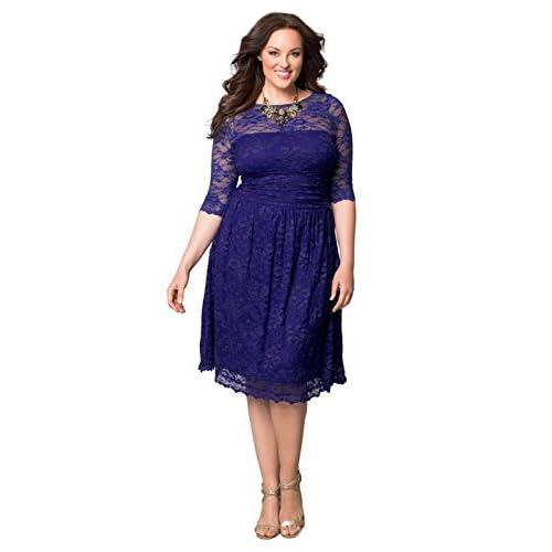 Cheap Kiyonna Womens Plus Size Scalloped Luna Lace Dress