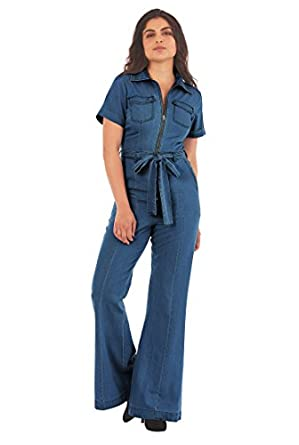 1960s Inspired Fashion: Recreate the Look eShakti Womens Zip front vintage wash cotton denim jumpsuit $70.95 AT vintagedancer.com