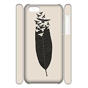 3D Kisss Series, IPhone 5C Cases, Leave Leaf Left Cases for IPhone 5C [White]