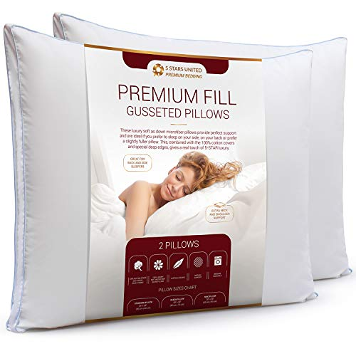 "5 STARS UNITED Gusseted Bed Pillows for Sleeping - 2-Pack - Premium Soft Fiber Fill - Hypoallergenic - Gusset Edge for Extra Loft - Best Alternative to Feather and Down Bedding (Queen 20"" x 30"")"