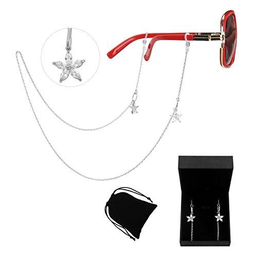 WeimanJewelry CZ Flower Pendant Sunglass Holder Chain for Womenwith - K Style Sunglasses