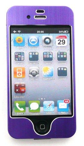 Emartbuy Value Pack für Apple iPhone 4G 4 4S 4GS HD LCD displayschutz + Brushed alumimium Effect Front-und Back-Aufkleber / Case / Cover Purple + Kompatibel Kfz-Ladegerät