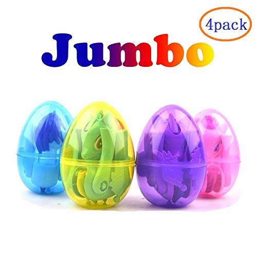 4 Pack Jumbo Easter Eggs with Deformation Unicorn Toys Inside for Kids Boys Girls Easter Gifts Easter Basket Stuffers Fillers Party supplies -